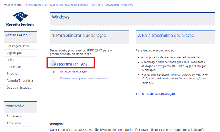 Download Programa do IRPF 2021